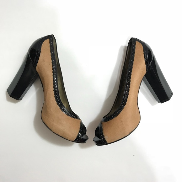 23abad0f3352 Diane Von Furstenberg Shoes   Peeptoe Calf Hair Block Heel   Poshmark